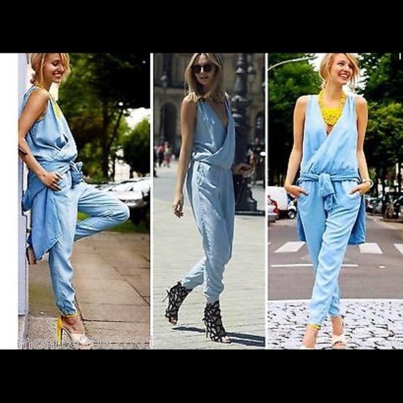 0601ac99 Zara Pants | Chambray Jumpsuit Nwt Size Medium | Poshmark